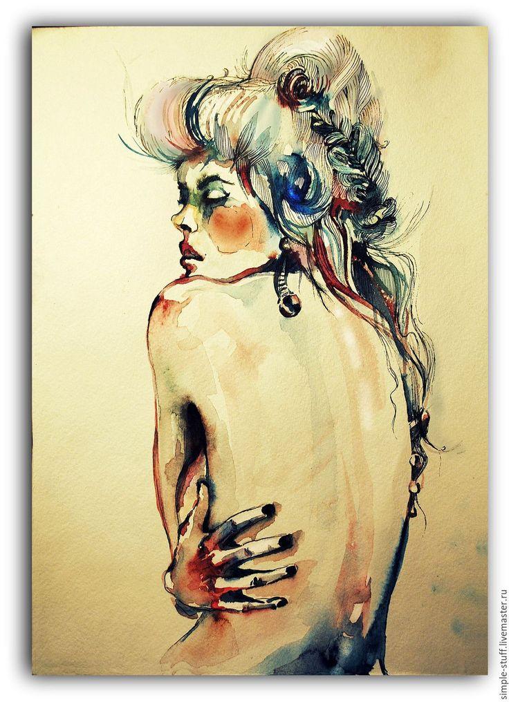 Портрет акварелью. Девушка - бежевый, акварель, портрет акварелью, акварельная картина, живопись акварелью