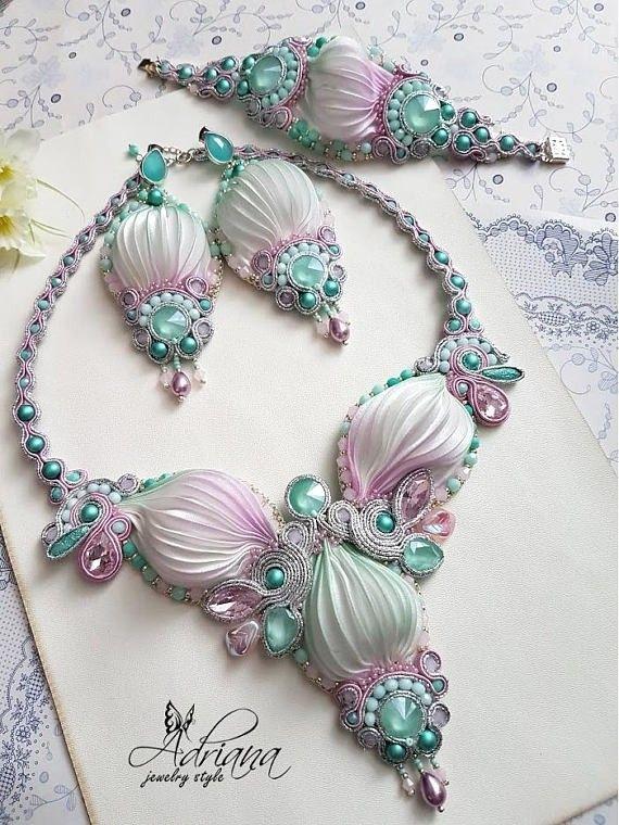 Spring pastel shibori jewelry by AdrianaJewelryStyle