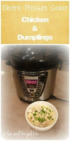 Electric Pressure Cooker - Chicken & Dumplings from A Fun and Frugal Life - See notes. Add frozen vegetables when add bisquits.