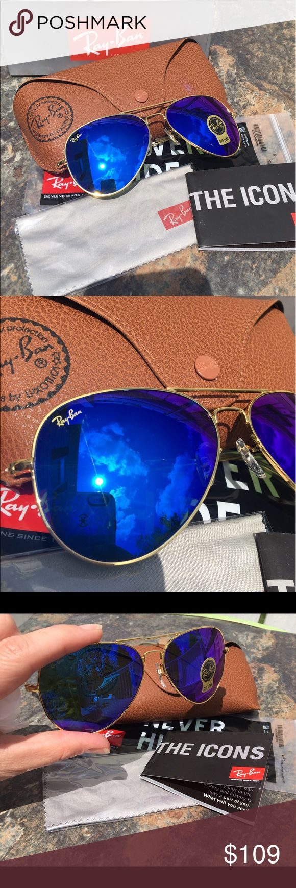 Ray Ban Sunglasses RB3025 Blue / Purple Authentic Ray-Ban sunglasses 😎. RB3025. Blue / Purple mirror flash with gold frame. You will receive everything you see in photos. Please buy with confidence take a look at my reviews 👌🏼👍🏼. Made in Italy Ray-Ban Accessories Sunglasses