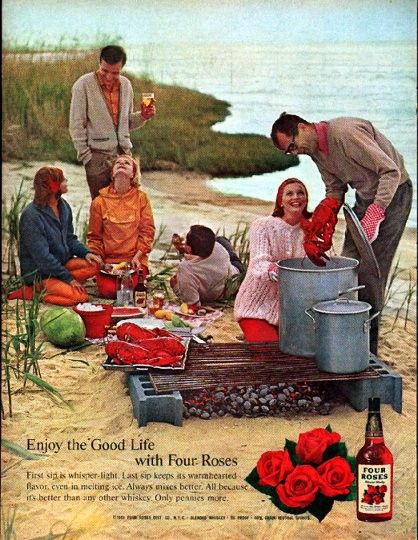 "Description: 1961 FOUR ROSES WHISKEY vintage magazine advertisement ""Enjoy the Good Life"""