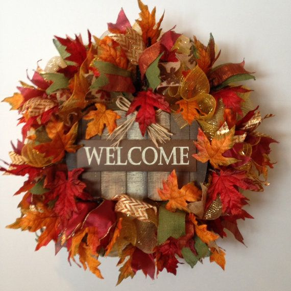 Fall deco mesh wreath welcome fall wreath autumn front Fall autumn door wreaths