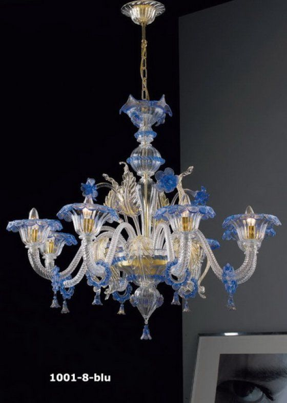 Muranoi csillár , kék-aranyozott 8 ágú