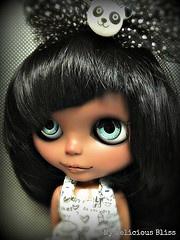 Panda's Baby Blues, Black Blythe Custom by My Delicious Bliss: Pandas Baby, Delicious Bliss, Blythe Dolls, Beautiful Black, Black Blythe, Blythe Pullip, Art Dolls, Black Dolls, Blythe Inspiration