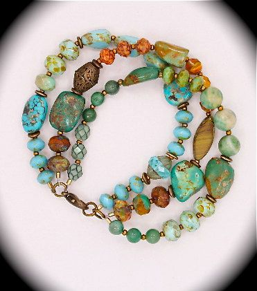 One-of-a-kind three strand natural turquoise bracelet - nice