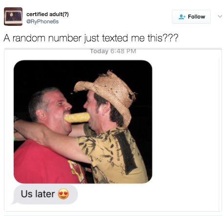 This person who got a text from two people sharing a single ear of corn: