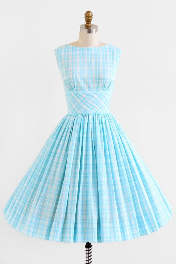 vintage 1950s blue + white gingham dress + jacket set | retro rockabilly dresses | www.rococovintage...