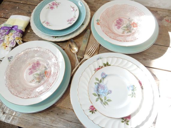 Turquoise and Pinks Dinner Plates Salad and by littlecleoathome