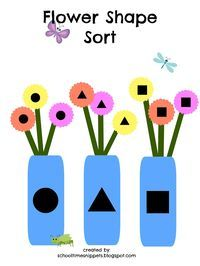 Printable spring themed shape activity for toddlers and preschoolers.  Free Printable Activity