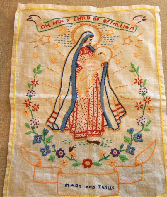 Hand Embroidery of Mary and Jesus, by kareneileen, $24.00