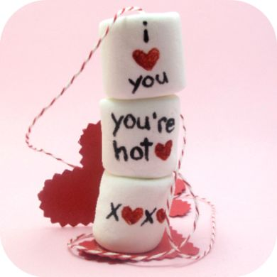 marshmallows on a string. Or, marshmallow tea? Or, dunking marshmallows in cocoa for Valentine's Day.   The Decorated Cookie