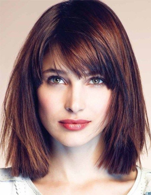 straight medium-length hairstyle for square face. Layering, shattered edges and auburn highlights distract attention from the heavy chin and leave a very light impression of an effortless feminine look, you can easily adopt for a square face.