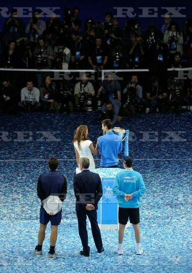 ATP/WTA Tennis World Tour 2015 ATP World Tour Finals 2015 Day Eight O2 Arena, Peninsula Square, London, United Kingdom - 22 Nov 2015  Novak Djokovic (SRB) is interviewed after winning the Men's Finals Trophy during Day Eight of the Barclays ATP World Tour Finals 2015 played at The O2, London on November 22nd 2015 22 Nov 2015