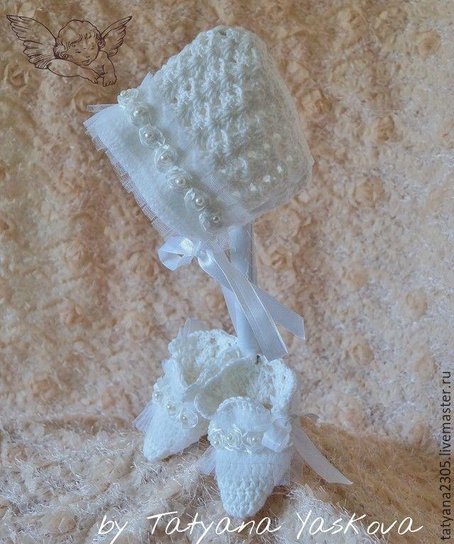 """Купить Комплект """"Изабелла"""" - белый, комплект на выписку, комплект вязаный, комплект для девочки, для новорожденной, на крестины"""