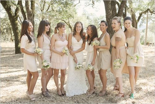 Again with the different styles/textures: Idea, Color Schemes, Mixed Matching, Weddings Bridesmaid Dresses, Mismatch Bridesmaid, Neutral Bridesmaid Dresses, Bride Dresses, The Dresses, Bridesmaid Color
