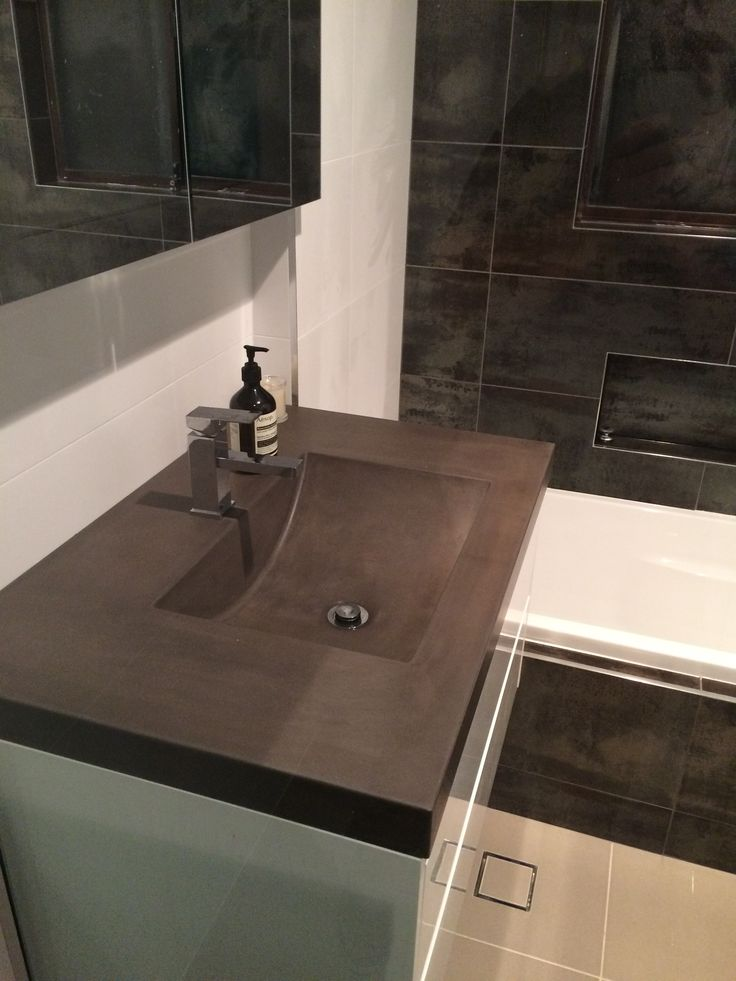 Perfect Polished Concrete Vanity Top By Mitchell Bink Concrete Design.  Www.mbconcretedesign.com.