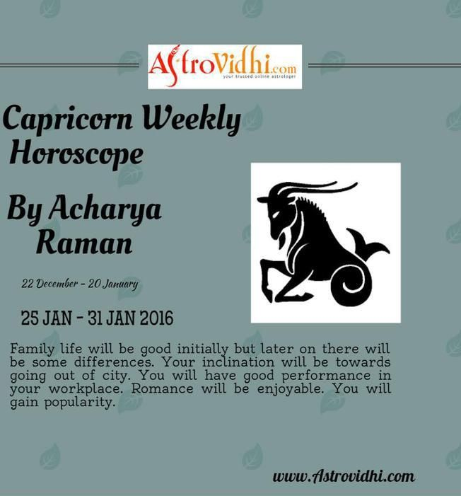 Check your Capricorn weekly Horoscope ( from 25 Jan to 31 Jan 2016 ) and plan your full week accordingly.