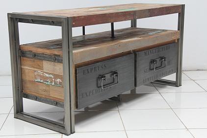 """Meuble TV """"SAMUDRA + tiroirs"""" teck reçyclé / métal (3 tailles) - Architeck - Meubles ETHNICRAFT (teck et chene), mobilier MOBITEC, MANUFACTORI, POMAX, LIGHTLIVING, atelier de finitions"""