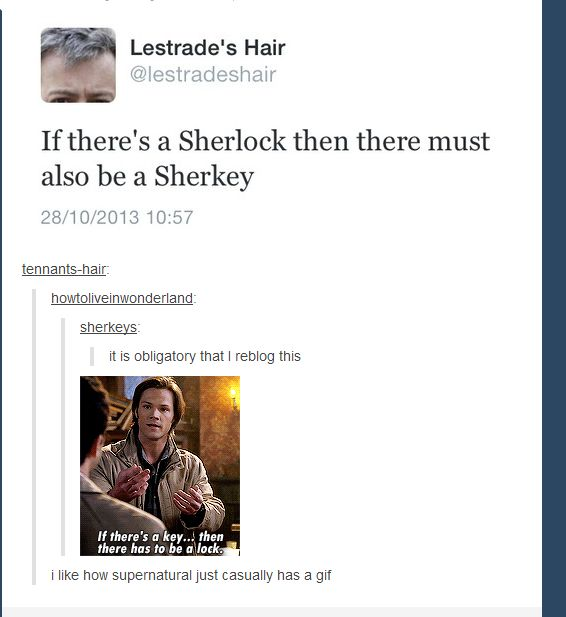 I think the more important question is why does Lestrade's hair have its own Twitter account?