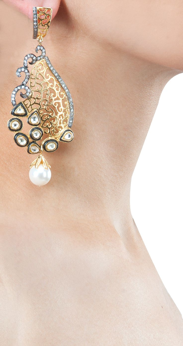 Filigree danglers with pearl drops by ROHITA AND DEEPA. Shop at http://www.perniaspopupshop.com/whats-new/rohita-and-deepa-6685