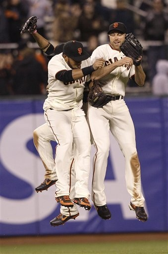 SF Giants outfielders; Gregor Blanco, rear, Melky Cabrera, center, and Nate Schierholtz celebrate after the final out of the ninth inning of a baseball game against the Houston Astros in San Francisco, Tuesday, June 12, 2012. The Giants won 6-3.: Sanfran Baseball, San Francisco Giants, Giants Baseball, Giants Outfielders Look, Pins Today, 3 Able Things, Thankssan Francisco, Sf Giants