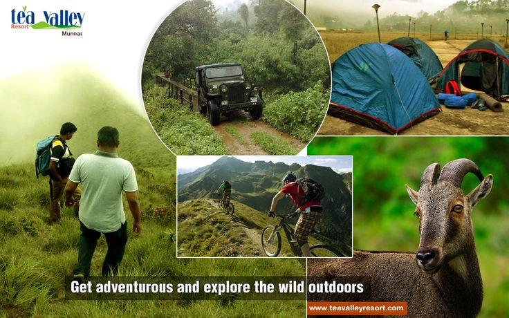 ADVENTURE TOURS IN MUNNAR We organize outdoor adventure activities outside our resort.Explore Munnar with Jeep Safari,Trekking,Wildlife tour,Tent camping & Mountain biking.