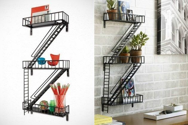 Fire Escape Shelf / interesting way to display collectibles or organize desktop