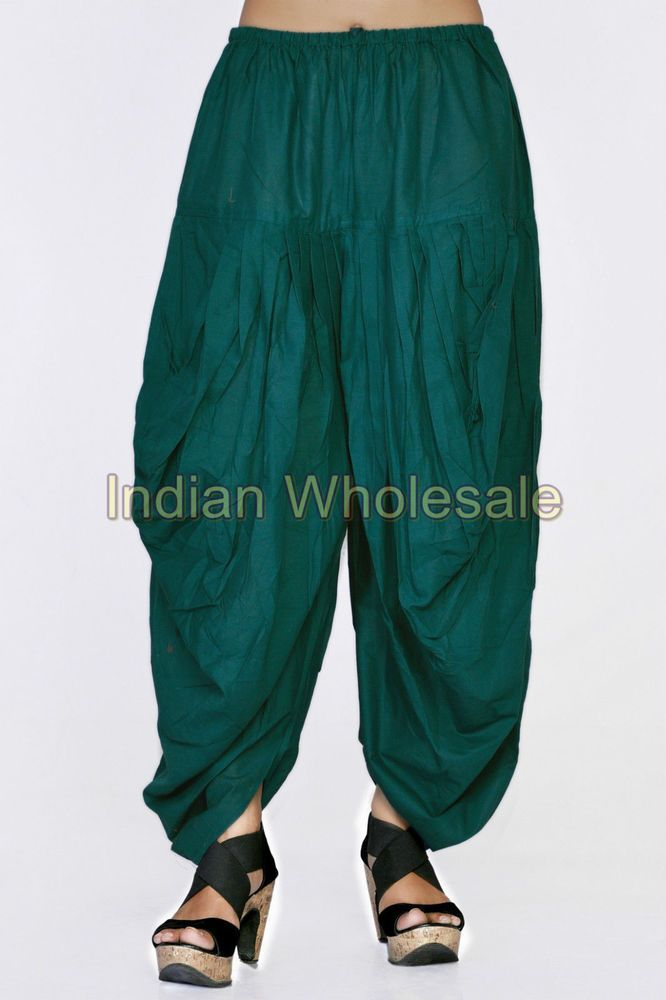 Indian Women Green Patiala Dhoti Salwar Pants Trousers Ready to wear IWUS9011GR #Handmade #CasualPants
