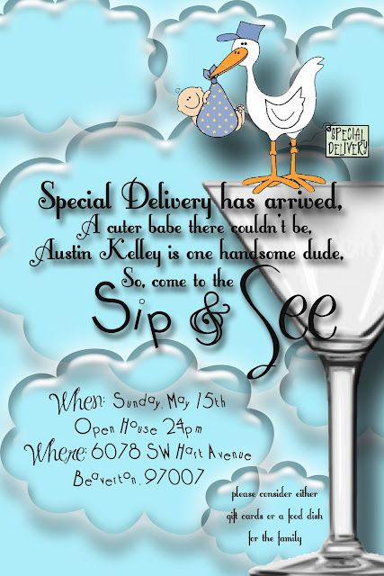 Baby Boy Shower Invite - Sip and See!