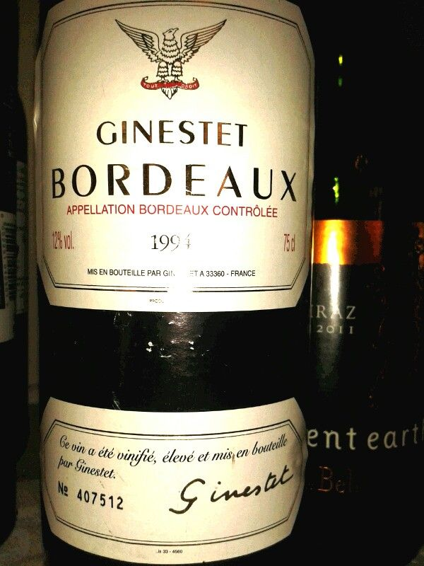 Ginestet Bordeaux 1994. Blind tasting at Intro to wine course with Penny Lancaster. Durban, South Africa.