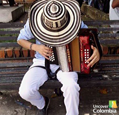 "traditional music called ""Vallenato"" played with accordion and the hat Sombrero ""Vueltiao"""