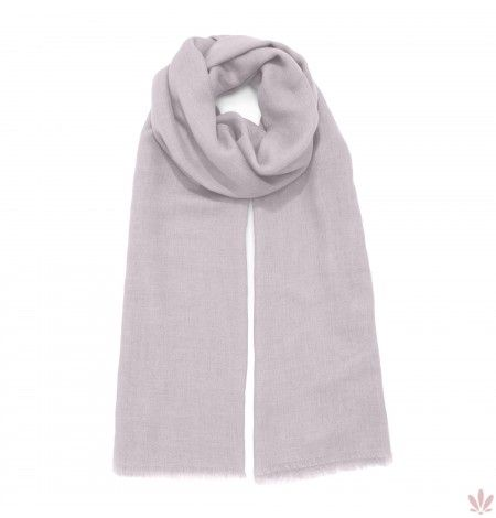 A super light and soft modal, wool, rayon & cashmere blend for a classic plain Rose Lilla scarf with fringed edges. Luxury high quality shawl made in Italy by Fulards free shipping.
