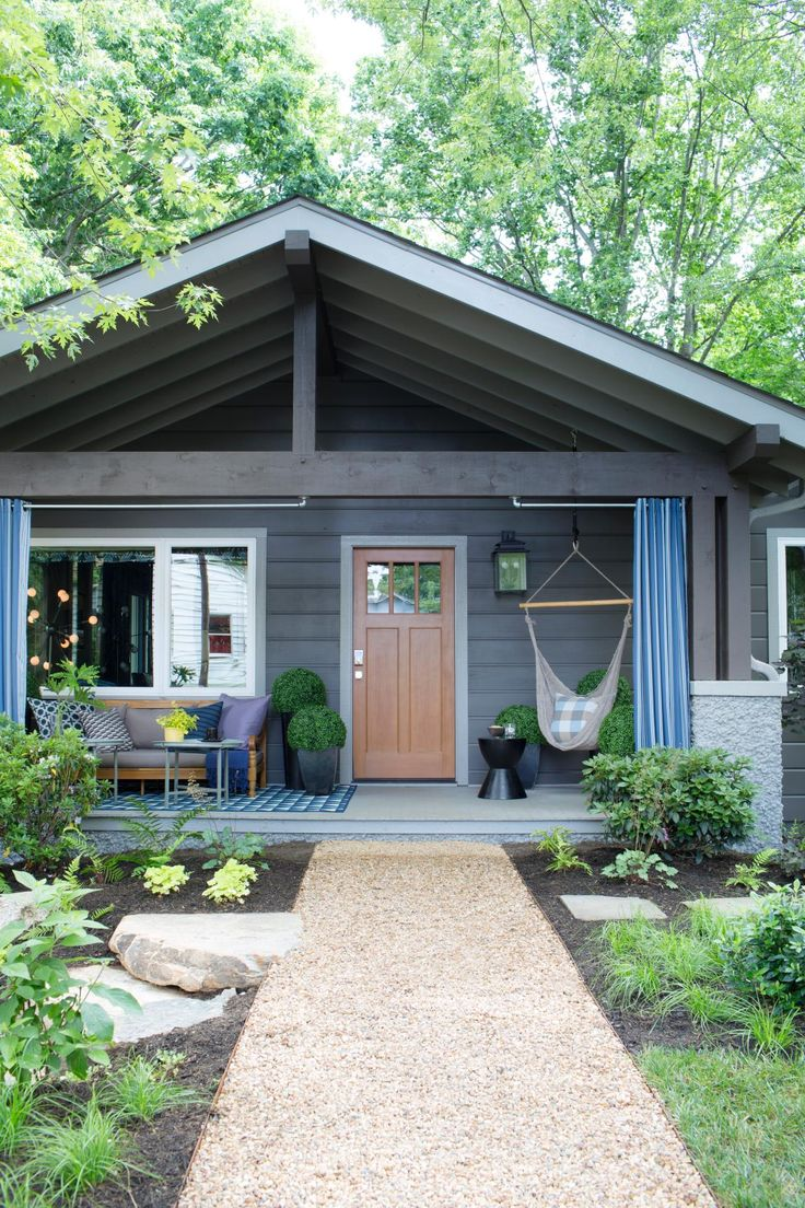 Bungalow front porch; cozy, ranch house, craftsman door.  Artistic View of HGTV Urban Oasis 2015 | HGTV Urban Oasis Sweepstakes | HGTV                                                                                                                                                     More
