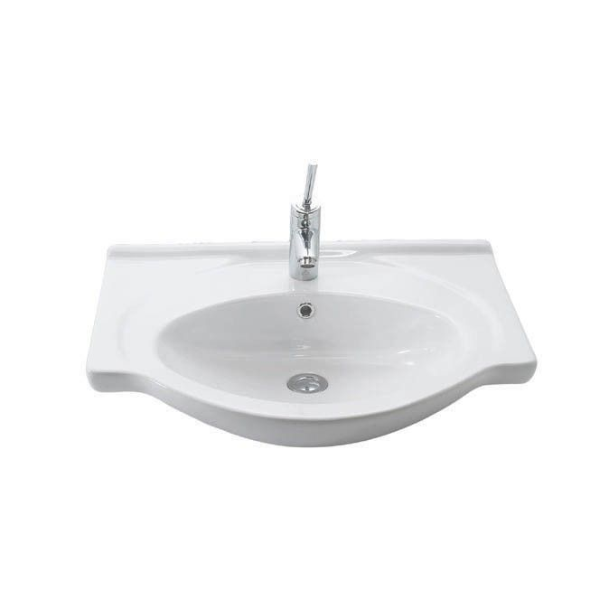 "WS Bath Collections Etol 065 Wall Mounted Bathroom Sink in Ceramic White 25.6"" x 19.6"""
