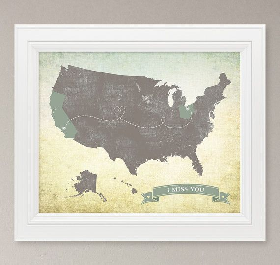 Personalized Vintage Us Map Art Print United States Map 8x10 Custom Family Love