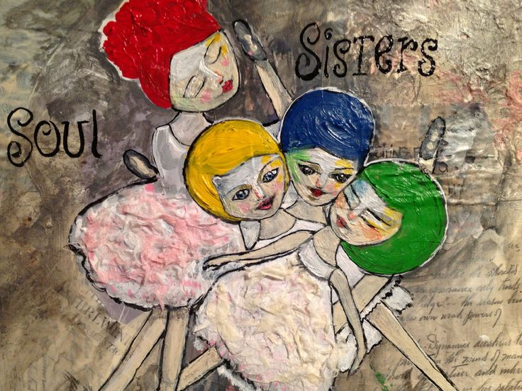 "Mixed media on paper..journal art. ""soul sisters"""