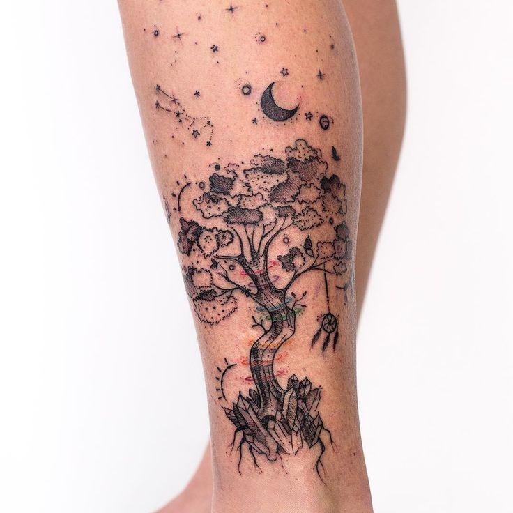 """Robson Carvalho Art 🇧🇷 (@robcarvalhoart) on Instagram: """"Tattoo na perna da Mariana que rolou hj aqui no estúdio 😁🌳✨ marcando um momento transformador e…"""""""