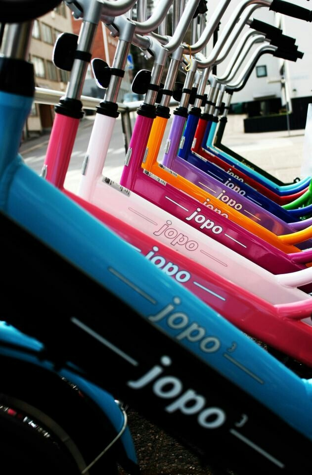 Finnish Jopo Bicycles in almost every possible colour.