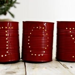 upcycle old soup cans into beautiful holiday luminarias (could do this with all the formula cans I have stored up!)