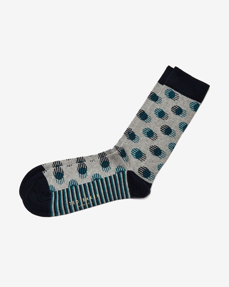 Striped and spotted socks  - Gray | Socks | Ted Baker