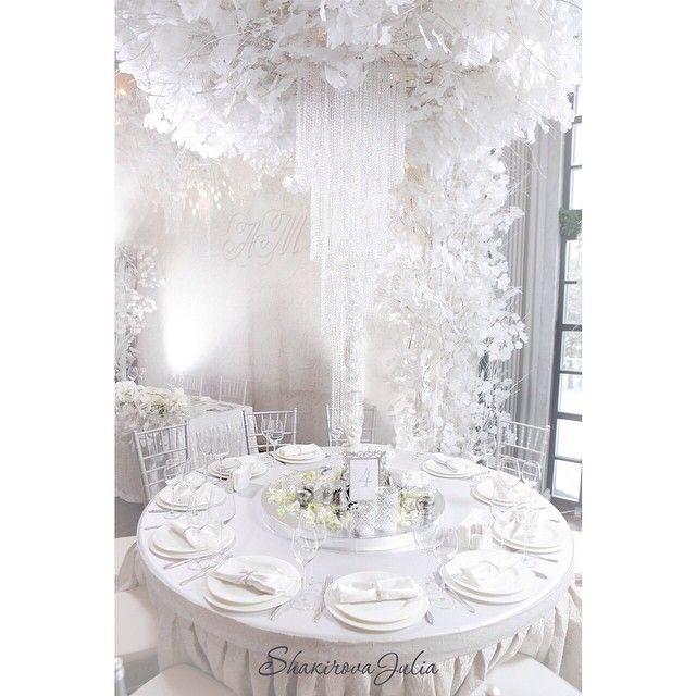 Декорирование столов высокими белоснежными композициями и ниспадающими люстрами…