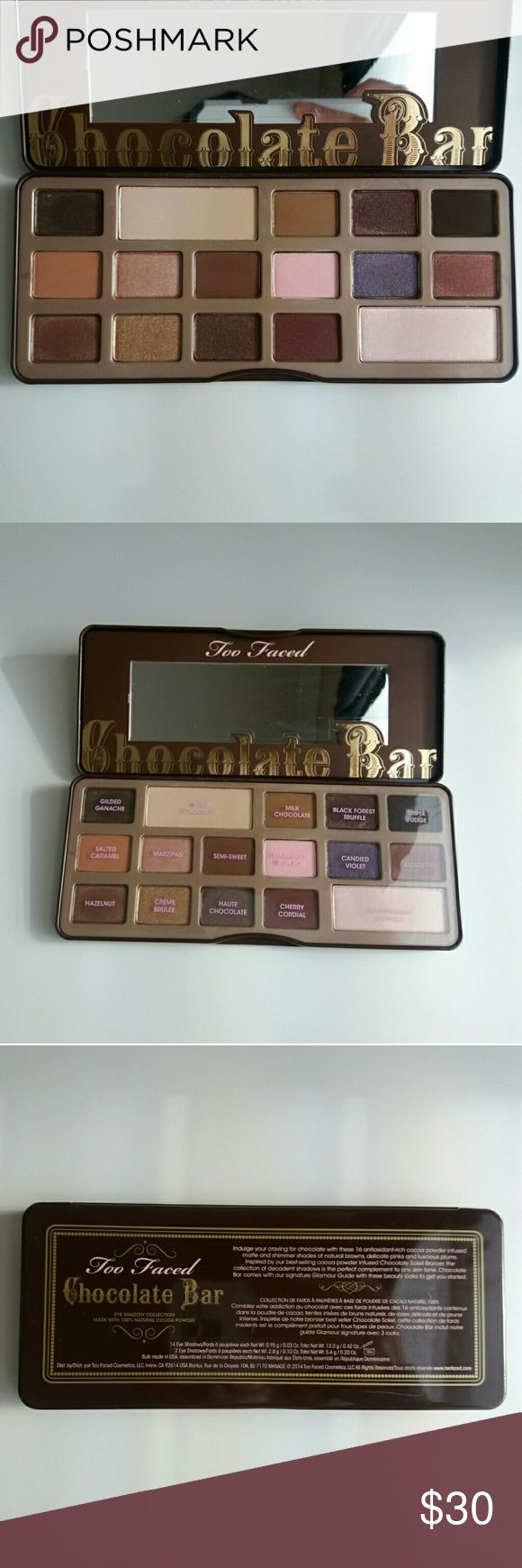 Too Faced Chocolate Bar Palette Too Faced - Original Chocolate Bar eyeshadow palette - Only swatched, just never reached for it  No trades, Reasonable offers only Too Faced Makeup Eyeshadow