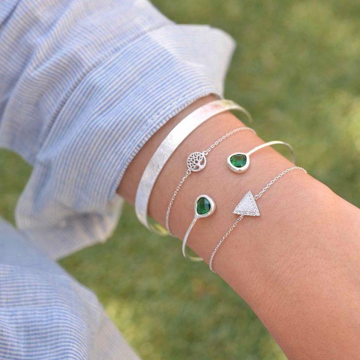 Majolie  - Triangle Diamanté Silver Bracelet -   - 1