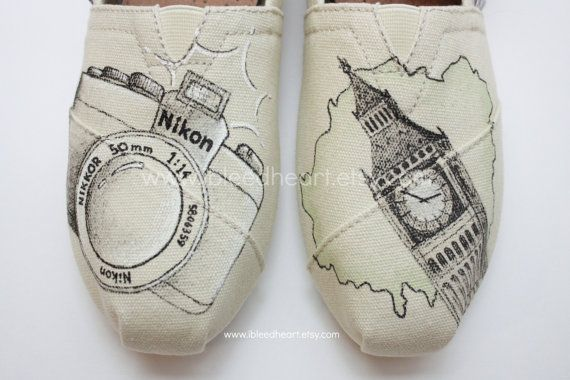 Custom Painted TOMS Shoes - Camera and Photography Travel Design - Adult on Etsy, $110.00