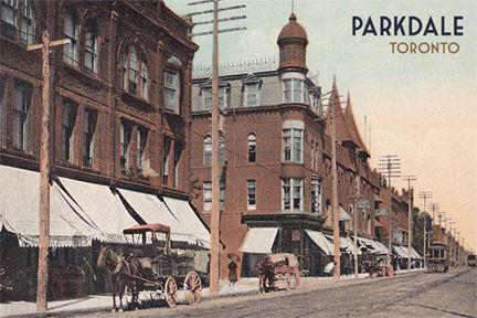 CCT0126 - Looking east along Queen Street West toward Macdonell Street Toronto, Ontario c1900.