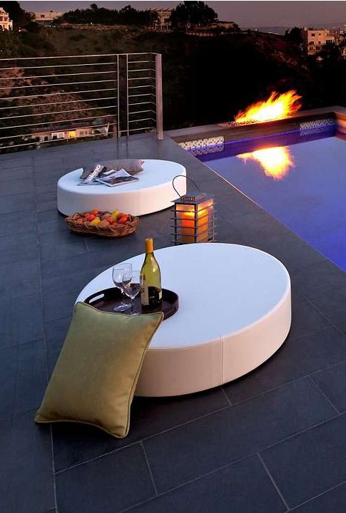 A celebration of modern design, our All-weather Note Seating is perfect for poolside lounging or oceanside retreats. Easy to stack for storage and lightweight for easy portability.: Pools Tile, La Fete, Outdoor Furniture, Beaches Pools, Footnot Seats, Magic Poolsid, Outdoor Spaces, Modern Pools, Modern Design