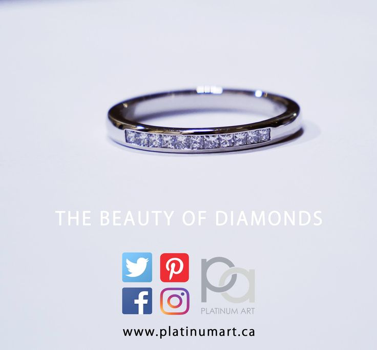 This beautiful Platinum Ring is inlaid with Princess Cut diamonds that make for a simple, but eye catching design for any fashionista.  #PlatinumArt #Platinum #Band #Diamonds #PrincessCut #Vogue #Chic #Beautiful #jewelry #Smiles #princess #Art #Love #GoalsOf2018 #artistic #valentinesday #holiday #happyshopping