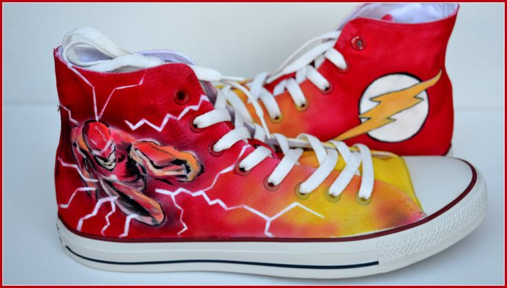 Painted Flash Shoes Custom Painted Mens Converse The Flash Converse Custom…