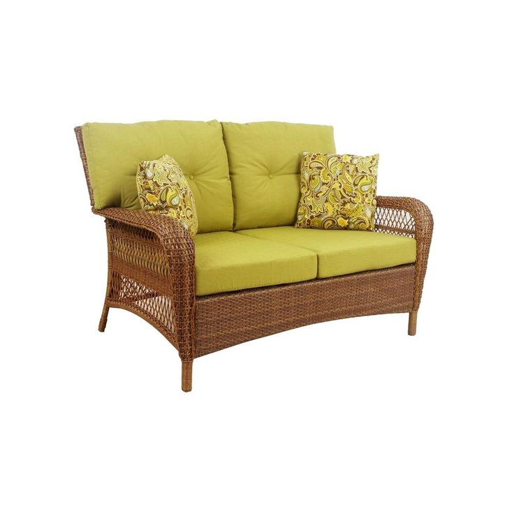Martha Stewart Living Charlottetown Brown All Weather Wicker Patio Loveseat  With Green Bean Cushion