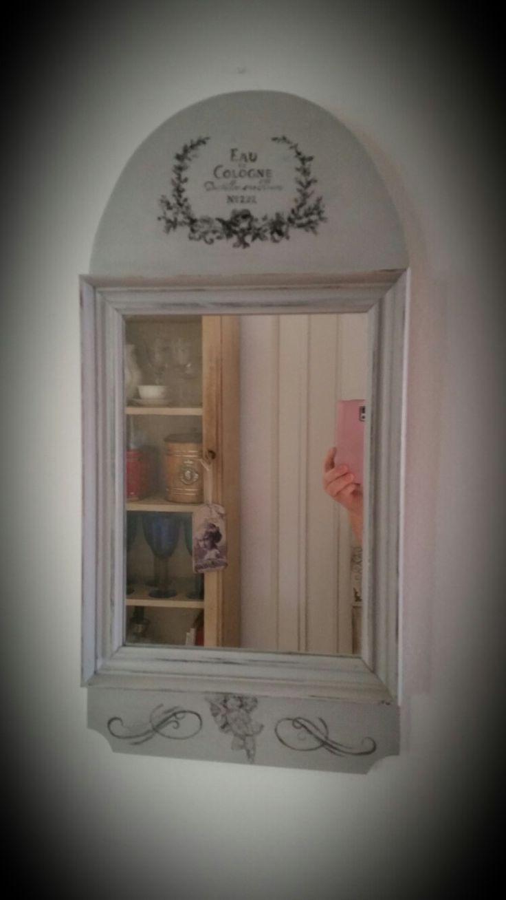 Liten grå spegel handmålad